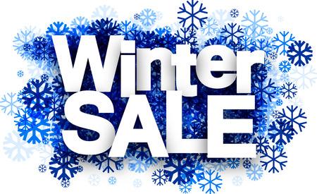 Witte winter te koop achtergrond met blauwe sneeuwvlokken. Vector illustratie.