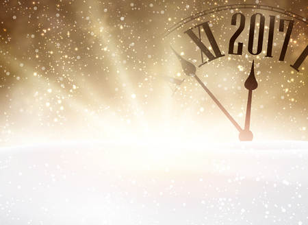 chiming: 2017 New Year shining background with clock and snow. Vector illustration.