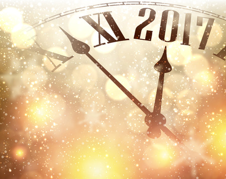 hristmas: 2017 New Year luminous background with clock. Vector illustration.
