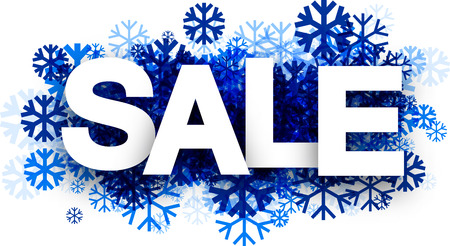 cold: White sale background with blue snowflakes. Vector illustration. Illustration