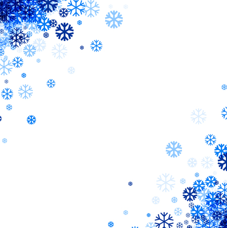 wintery: White winter background with blue snowflakes in corners. Vector illustration. Illustration