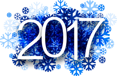 background calendar: 2017 New Year winter background with blue snowflakes. Vector paper illustration.