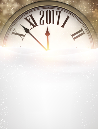 new year decoration: 2017 New Year background with clock and snow. Vector illustration.