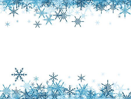White winter background with blue snowflakes. Vector illustration. Иллюстрация