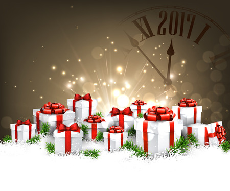 chiming: 2017 New Year background with clock, gifts and snow. Vector illustration. Illustration