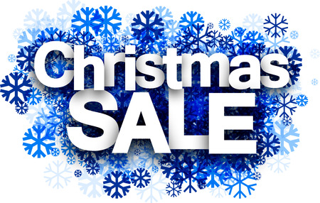 happy shopper: White Christmas sale background with blue snowflakes. Vector illustration. Illustration