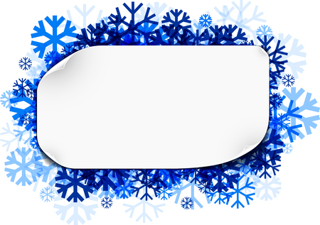 White winter sticker background with blue snowflakes. Vector illustration.