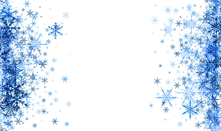 Biała zima niebieskim tle z płatki śniegu. ilustracji wektorowych.