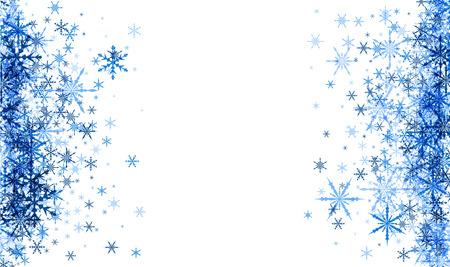 Blanc hiver fond avec des flocons de neige bleus. Vector illustration.