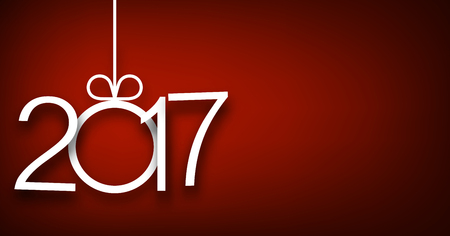 2017 New Year sign on red background. Vector illustration.