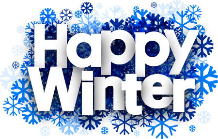 wintery: Happy winter white background with blue snowflakes. Vector illustration.