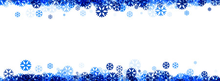 wintery: White winter banner with blue snowflakes. Vector illustration.