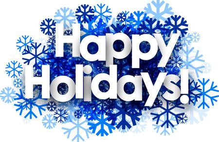Witte gelukkige vakantie achtergrond met blauwe sneeuwvlokken. Vector illustratie.