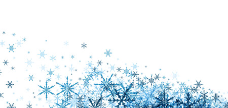 christmas wallpaper: White winter background with blue snowflakes. Vector illustration. Illustration