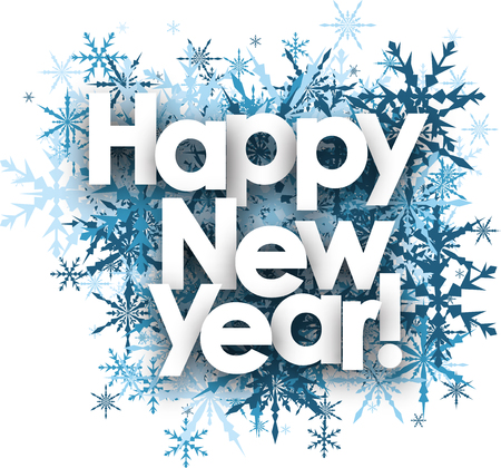 Happy New Year white background with blue snowflakes. Vector illustration. Illustration