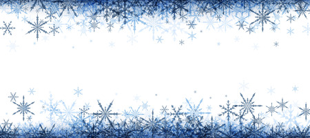 blue christmas background: White winter banner with blue snowflakes. Vector illustration.