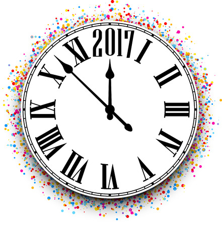 chiming: 2017 New Year round clock with color confetti. Vector illustration.