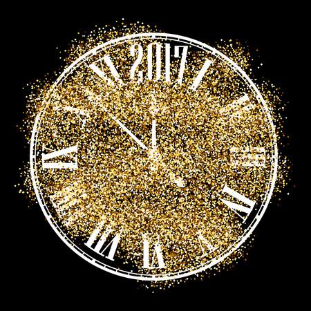 chiming: Black 2017 New Year background with original clock. Vector illustration. Illustration