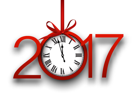 chiming: 2017 New Year white background with red clock. Vector illustration. Illustration