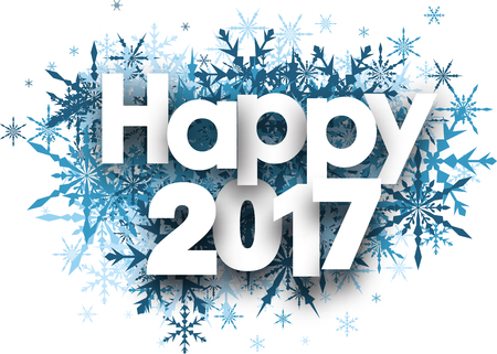 White happy 2017 winter background with blue snowflakes. Vector illustration.