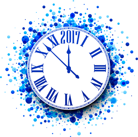 chiming: 2017 New Year round clock with blue confetti. Vector illustration. Illustration