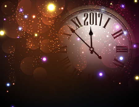 hristmas: 2017 New Year color background with clock. Vector illustration. Illustration