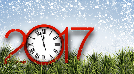 new year celebration: 2017 New Year blue banner with clock. Vector illustration.