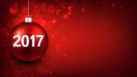 red ball: 2017 New Year red background with Christmas ball. Vector illustration.