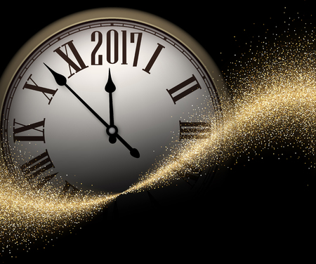 chiming: Black 2017 New Year shining background with clock. Vector illustration.