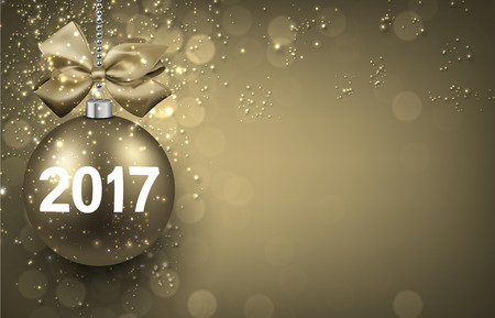 golden ball: 2017 New Year golden background with Christmas ball. Vector illustration. Illustration