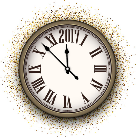 chiming: 2017 New Year background with clock and sand. Vector illustration.