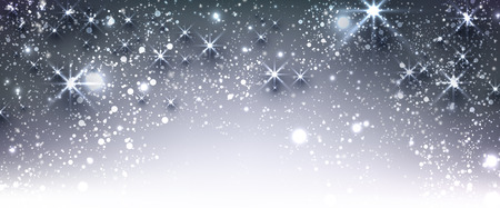 luminous: Blue winter festive luminous banner with snow. Vector illustration.