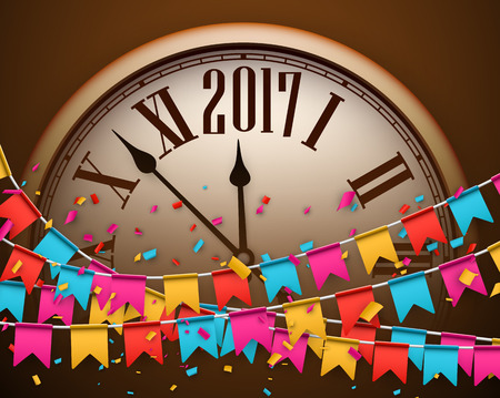 chiming: 2017 New Year background with clock and color flags. Vector illustration.