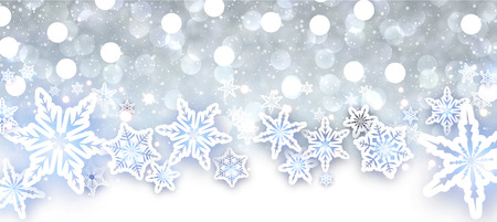wintery: Winter shining background with snowflakes. Illustration