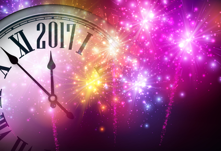 2017 New Year background with clock.