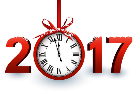 2017 New Year white background with red clock. Vector illustration. Ilustração