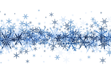 snowfalls: White winter background with strip of blue snowflakes. Vector illustration. Illustration