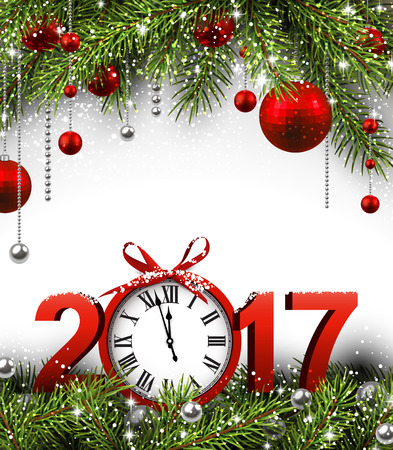 new year celebration: 2017 New Year background with clock, fir and balls. Vector illustration.
