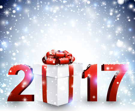 2017 New Year blue luminous background with gift. Vector illustration. Illustration
