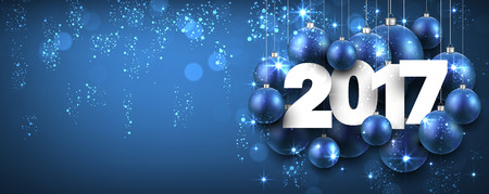 sparkling: 2017 New Year blue banner with Christmas balls. Vector illustration.