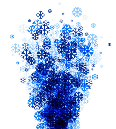 wintery: White winter background with fountain of blue snowflakes. Vector illustration.