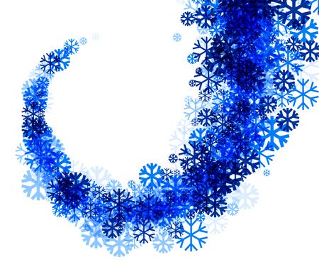 wintery: White winter background with vortex of blue snowflakes. Vector illustration.