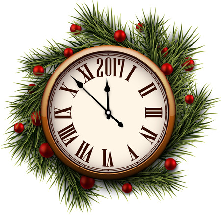chiming: 2017 New Year round clock with fir branches. Vector illustration.