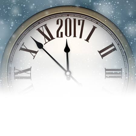 snow background: 2017 New Year background with clock and snow. Vector illustration.