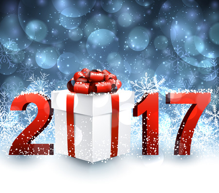 2017 New Year blue background with gift and snowflakes. Vector illustration. Illustration