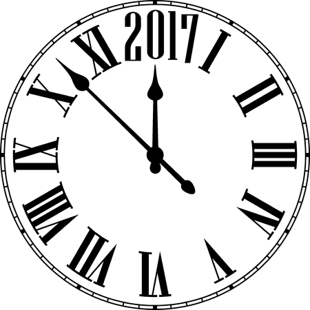 chiming: 2017 New Year black and white clock. Vector paper illustration.
