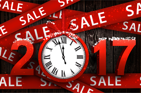 Wooden sale 2017 background with clock and ribbon. Vector illustration.