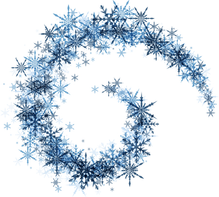 white winter: White winter background with spiral of blue snowflakes. Vector illustration.