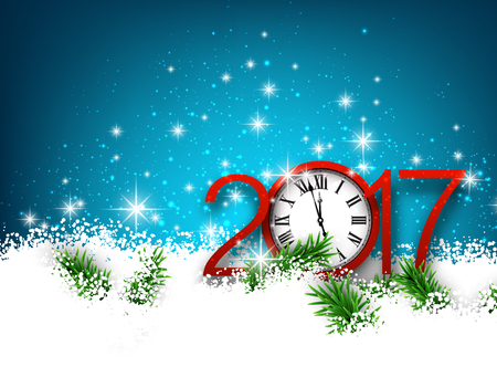 new year celebration: 2017 New Year blue background with clock and snow. Vector illustration.