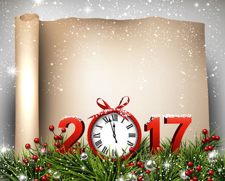 dial: New Year 2017 scroll background with clock. Vector paper illustration.